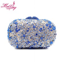 Vintage indian luxury jeweled crystal flower party purses diamond designer women evening clutches wedding party handbag(China)