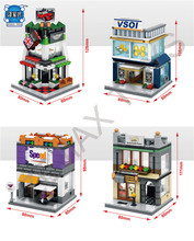 Hot City Street View Building Block with Light Mini Cooper Auto Sales Shop Visa Finance FEDEX Express Center Com.withlepins Toys