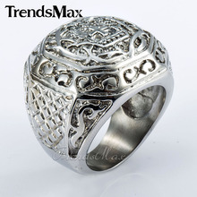 Trendsmax Customized Rock Silver Tone Carved Cross Crown Mens Boys Signet Ring 316L Stainless Steel Ring US Sz 8-13 HR141