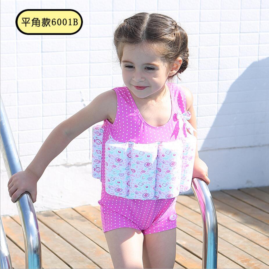 8 colors cute children kid girls swimwear Buoyant swimsuit baby girl bodysuit floating swimming swimwear One-piece Swimsuit 445<br>