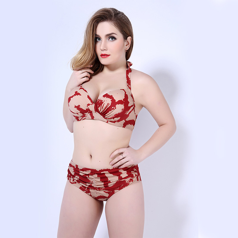 Womens high waist bikini set swimwear 3XL-5XL plus large size sexy secret print tracksuit bathing biquini may beach bequinis <br><br>Aliexpress