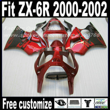 Motorcycle Fairings set for Kawasaki ZX6R 2000 2001 2002 Ninja 636 fairing kits ZX-6R 00 01 02 black red bodywork PY17