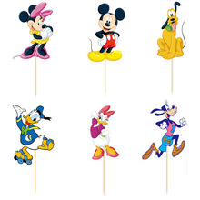 24pcs Mickey & Minnie mouse Cupcake Topper Picks kids birthday party decoration wedding party happy birthday supplies