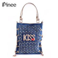 iPinee Fashion Personality Design KISS Letters rivets and rhinestones women bags handbags famous brands casual messenger bag(China)