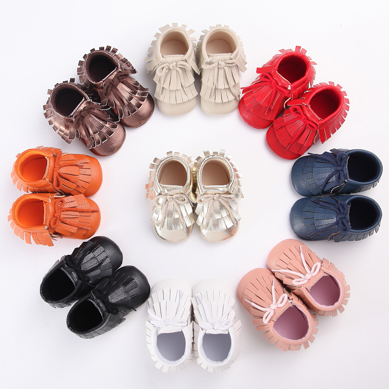 2016 New double Fringe lace-up PU Leather Suede Toddler Baby Boots Moccasins Newborn First Walkers Infant Soft Shoes 0-18 M<br><br>Aliexpress