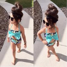 Floral Bowknot 2PCS Girl set outfits 2017 Summer Sleeveless Tops + Pants Baby Girl Set Clothing girl swimwear Blue 2T 3T 4T 5T 6