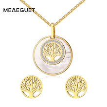 Meaeguet Women Tree of Life Necklace Earrings Jewelry Sets Gold-Color Abalone Shell Inlay Stainless Steel Fashion Jewellery(China)