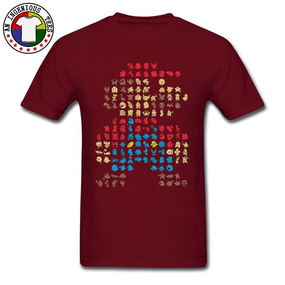 Men's T-Shirt Super-Mario0604 Classic Tops Shirts Cotton O Neck Short Sleeve Normal Tops Shirt Thanksgiving Day Super-Mario0604 maroon