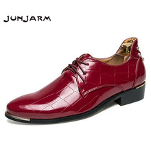 JUNJARM 2018 Brand Men Dress Shoes Square Designed Formal Men Business Shoes  Luxury Office Wedding Mens 4afdb965c4eb