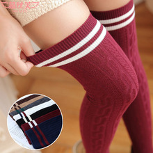 Buy 2017 hot sale twist vertical stripes stockings thin women cotton pantyhose knee socks female college style heaps stockings