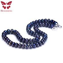 2018 Amazing New Real Black Pearl Jewelry Necklace For Women,Natural Freshwater Pearl Cute Love Shape Buckle,Fashion Jewelry(China)