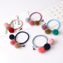 C Women Girls Hair Accessories Colorful Faux Fur Ball Headband Children Pompon Elastic Hair Band Lovely Hair Ties Scrunchies