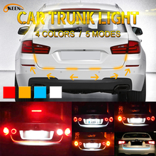 OKEEN 1set yellow/red/blue/white 5050LED Trunk dynamic led turn signal light strip flexible led drl led tailgate warnning light