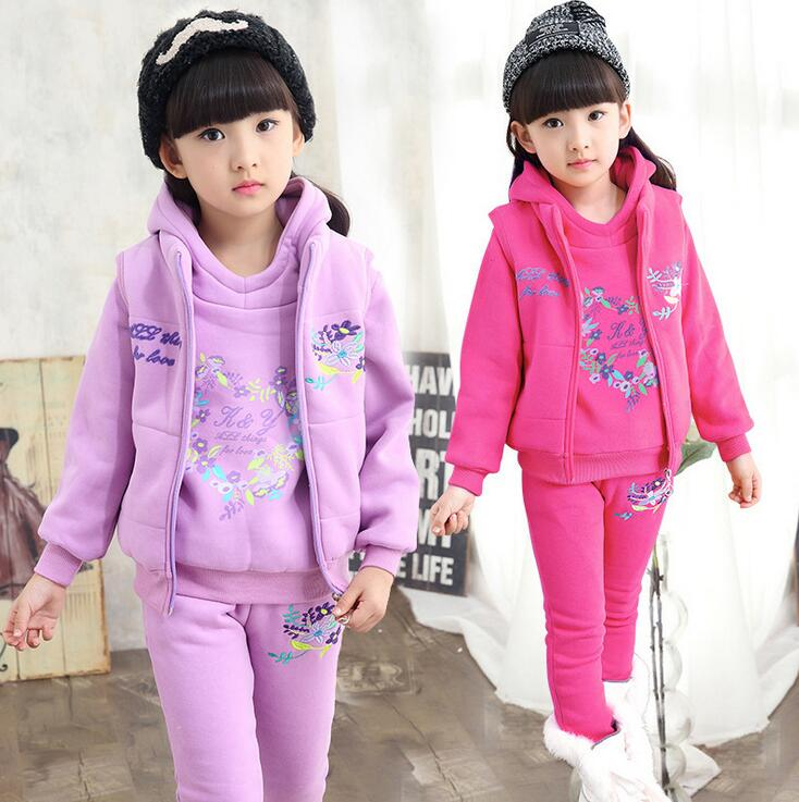 Winter down Tracksuits for girls Floral Print Clothing Sets Children Thickning Warm Hiver ensemble fille Vest + Hoodies + pants<br>