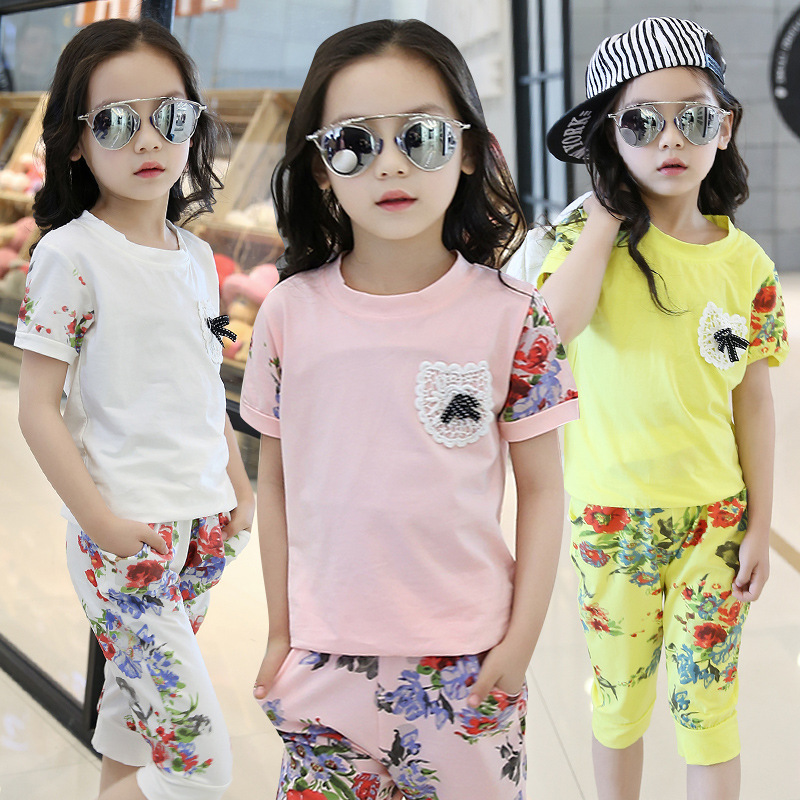 New Arrived Baby Girls Summer Suit 2017 Fashion Shirts+Pant Two-Piece Childrens Casual Floral O-Neck Pullover Clothing Hot Sale<br><br>Aliexpress