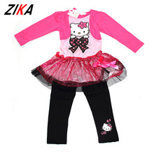 ZIAK Spring Girl Hello Kitty Clothes Kids Hoodies Sports Pants Children Clothing Set Girls Sequin Long Sleeve Tops Baby Clothes