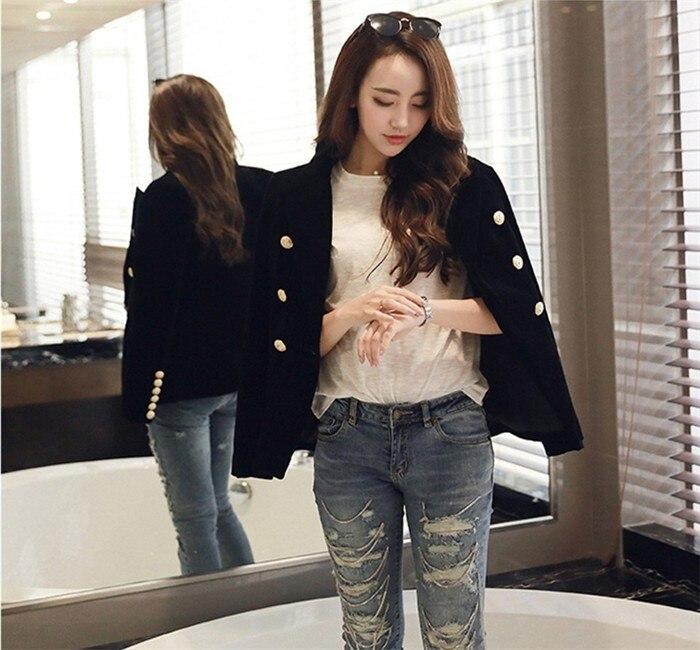 2016 New Spring Fashion Women Midnight Navy Slim Velvet Blazer Jacket Double Breasted simple Lady Blazers (1)