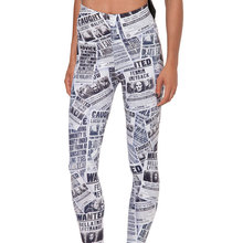 2016 3D Print Newspapers Pattern Leggings For Women Jeggings Black White Punk Rock Adventure Time Calzas Leggins Gothic Fitness