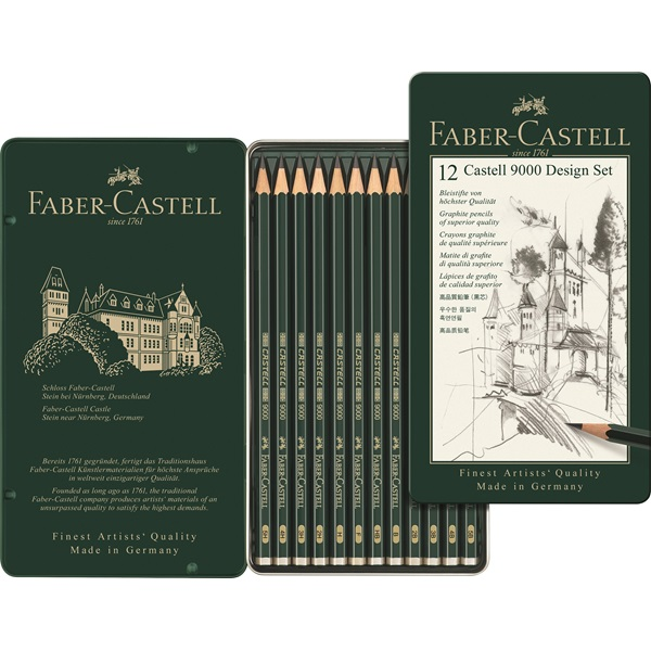 FABER CASTELL 9000 pencil sketch art supplies drawing pencil 12 box set 119064<br>