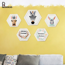 ROOGO 3d animal wall hanging cartoon shape home decoration ornament Europe style office hotel Bar art exhibition hall decor(China)