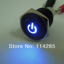New 16mm 12V 3A Black Metal Push Button Switch Blue Led Latching ON/OFF Switch(China)