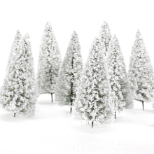 1:100 High Quality 10pcs White Model Tree Scenery Railroad Layout Landscape Cedar Trees 10cm Christmas Gift Kids Toys for Child(China)