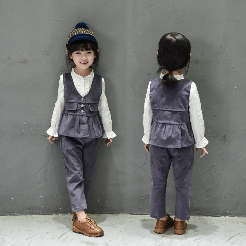 kids girls clothing set fashion corduroy ruffles jacket vest and pants Christmas outfit children clothes 2pcs autumn spring 2-7T<br><br>Aliexpress