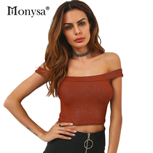 Women Sexy Crop Top Summer 2017 New Fashion Knitted Off Shoulder Tops Women Causal T-shirts With Short Sleeve White Brown