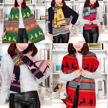 2017 Fashion Christmas Women Winter Cashmere Blend Pashmina Scarf Deer Printing Tassel Knitted Shawl Wrap Scarves(China)