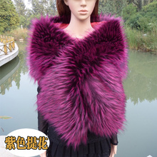 top quality faux raccoon fox fur shawl multicolor customerized color size scarf bride wedding cosplay party faux fur scarf cape
