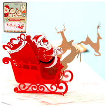 FBIL Happy Deer car Pop up Card 3D Christmas Greeting Card Laser-Cut Handmade Happy New Year Birthday Post Card Spring Festival(China)
