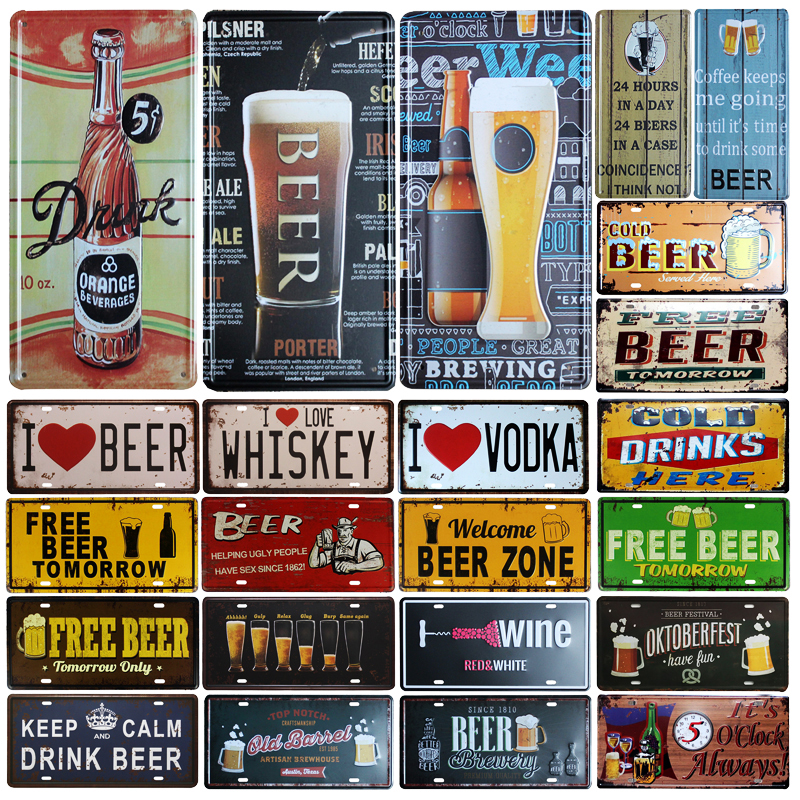 Vintage Beer Pub Bar Decor Art Signs