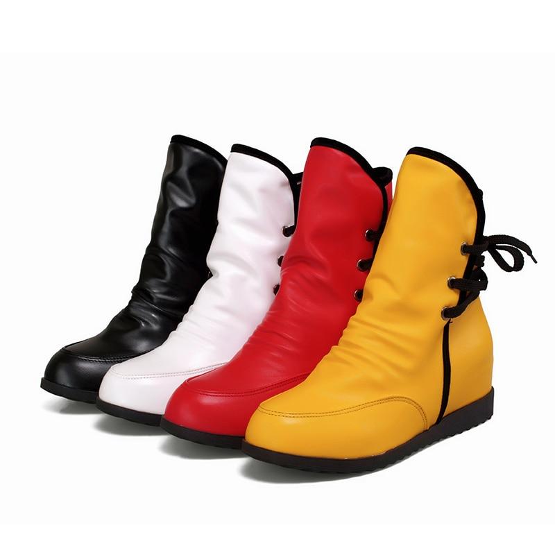 Brand New Black Red White Yellow Women Platform Half Knee Mid Calf Boots Ladies Shoes Wedges Heels Buckle AH518 Plus Big Size 43<br><br>Aliexpress
