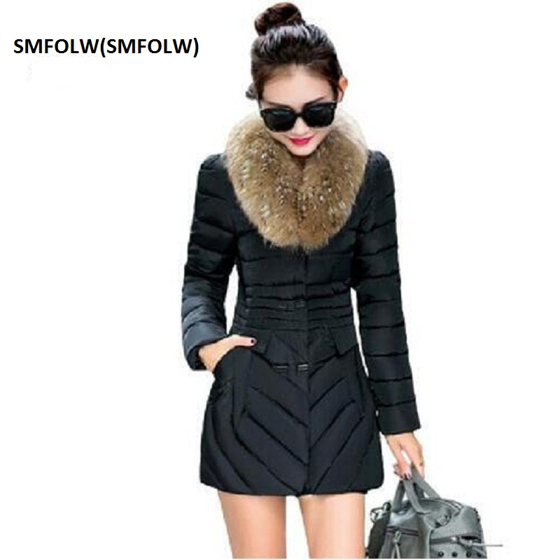 SMFOLW(SMFOLW) Special Offer  Fashion Female Winter Jacket Double Breasted Womens  Fur Collar Medium Long Slim Parkas JacketsÎäåæäà è àêñåññóàðû<br><br>