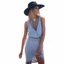 SAENSHING Bikini Cover Up Deep V-neck Pareo Beach Cover Ups Swimwear Women Beach Tunic Bathing Suit Coverup Summer Swimsuit