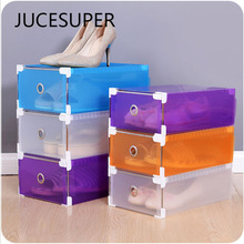 Translucent Storage Shoebox Candy Color Metal-edged Drawer Type Plastic Storage Box Storage Kinds Of Colors Simple