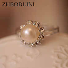 ZHBORUINI 2017 Pearl Ring Jewelry Natural Freshwater Pearl Sunflowers Ring Alloy Rings For Women Fashion Jewelry Accessories