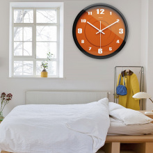 Airinou Creative Brief Orange Circle Plate Design Glass And Metal Wall Clock Hotel And Restaurant(China)