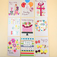 (18 pieces/lot)Paper Laser Floral Children Birthday Greeting Cards Small Beautiful Wish Gift Card With Envelope Wholesale