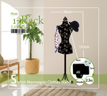 Funlife 152x36cm 60x14in Stylish Mannequin Clothes Stand Coat Rack Hanger Wall Sticker with 3 Hooks For Clothing Store L1000052