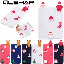 QuShar Christmas Cute 3D Santa Claus Hat Sock Phone Case for Samsung Galaxy J3 J5 J7 2017 J330 J530 J730 Soft TPU Matte Case Red