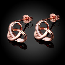 Romantic Rose Gold Color Classic Love Knot Post Stud Earrings Charm Earrings For Girl Women Stud On Ears Piecing Fashion Jewelry(China)