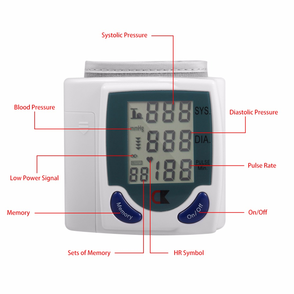 LCD Cuff Arm Wrist Blood Pressure Monitor Meter Household Health Care Healthy Heart Beat Rate Pulse Measure Machine Best Selling 8