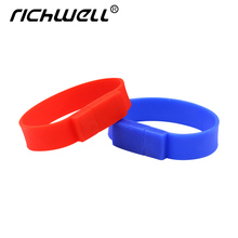 100% real capacity Silicone Bracelet Wrist Band 16GB 16GB 8GB 64GB USB 2.0 USB Flash Drive Pen Drive Stick U Disk Pendrives(China)