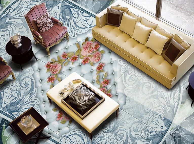 3d floor custom 3d wallpaper living room Blue retro floral 3d pvc flooring waterproof wallpaper self adhesive 3d floor murals<br>