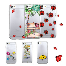 Lovely Animal Bug Ladybug Beetle Green Summer Coconut Tree Soft TPU Dust Proof Phone Cover Case For iPhone7 plus  6plus 5s