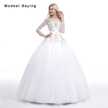 Buy Sexy Backless White Ball Gown Beaded 3/4 Sleeve Lace Wedding Dresses 2017 Formal Women Bridal Gown vestido de noiva Custom Made for $256.50 in AliExpress store