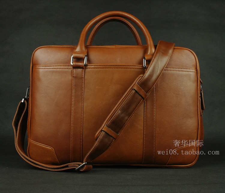 LEXEB Solid Brown Leather Men's Briefcases For 15 Laptop Office Bag For Men With Double Zips Open Two Main Bags Large Capacity