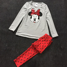 oringal brand,6 Sets/lot 2-6x minnie mouse clothing set Girl Long sleeve t-shirt and pants autumn 2 pieces cotton outfit