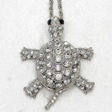 12pcs/lot Wholesale Rhinestone Can Swing Sea Turtle Fashion Pendant Necklaces Chain Jewelry F101011(China)